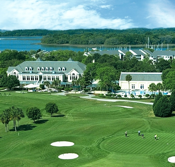 Aerial view of the clubhouse at Country Club of Hilton Head