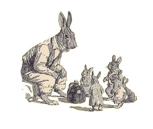 Brer Rabbit telling stories to young rabbits