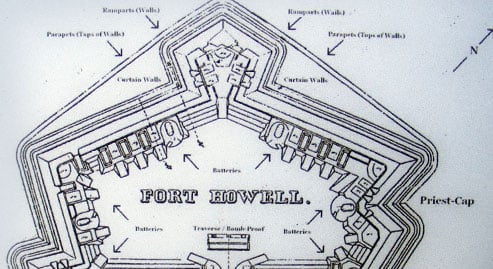 Overview drawing of Fort Howell
