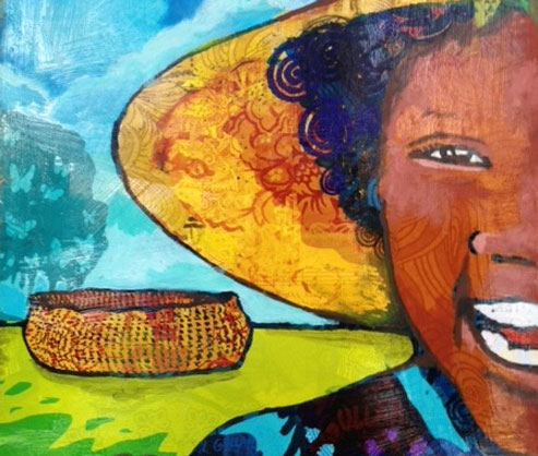 Painting of a Gullah Woman with a basket in the background