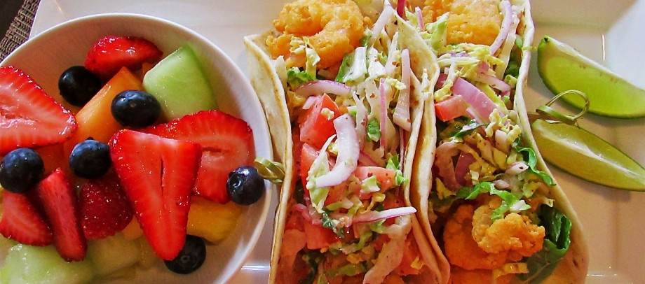 Soft-shell shrimp tacos