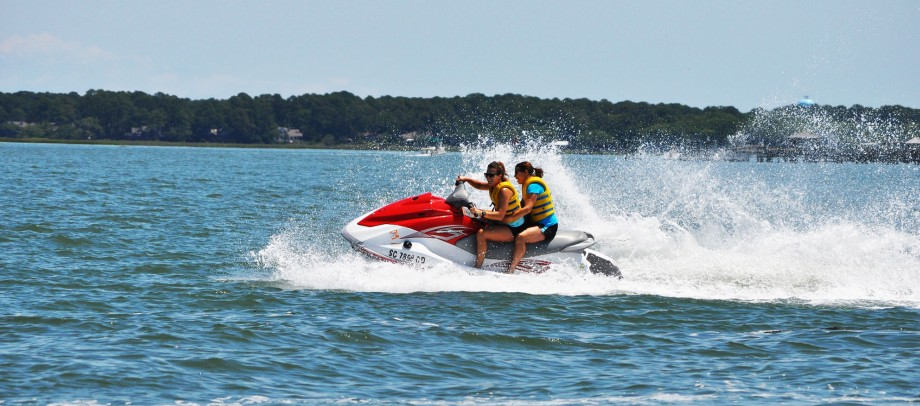 People riding a Seadoo