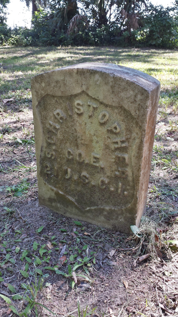 Headstone of Samual Christopher, whose great-great grandson, Murray Christopher will be speaking at the event.