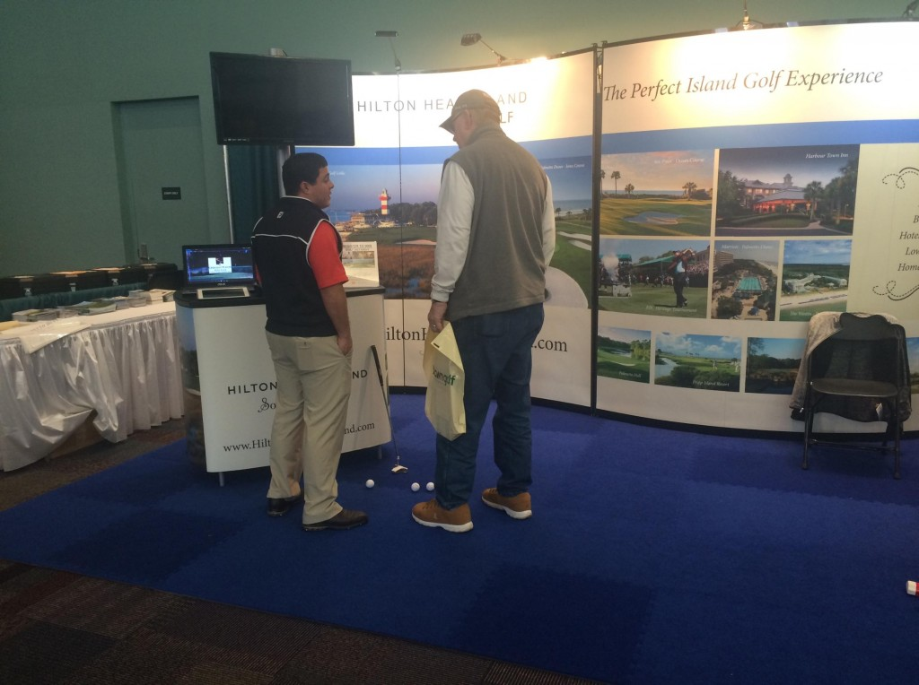 Tony Pineda talks Hilton Head Golf with a visitor to our booth at the Cincinnati Golf Show
