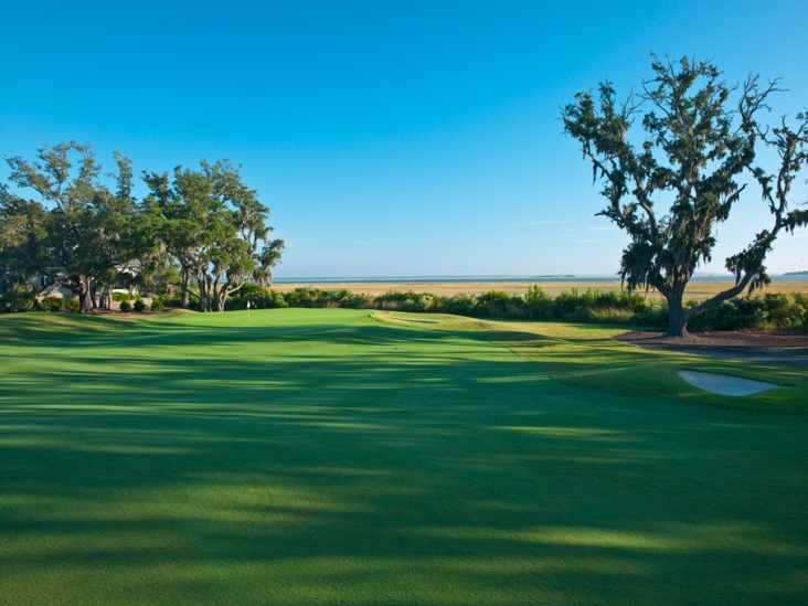 The gorgeous 15th hole at the Dye Course at Colleton River, looking out at Port Royal Sound.