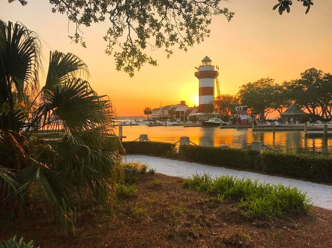 The Harbour Town Lighthouse at sunset.