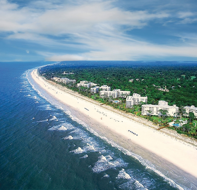 Aerial view of the beach at Palmetto Dunes Resort