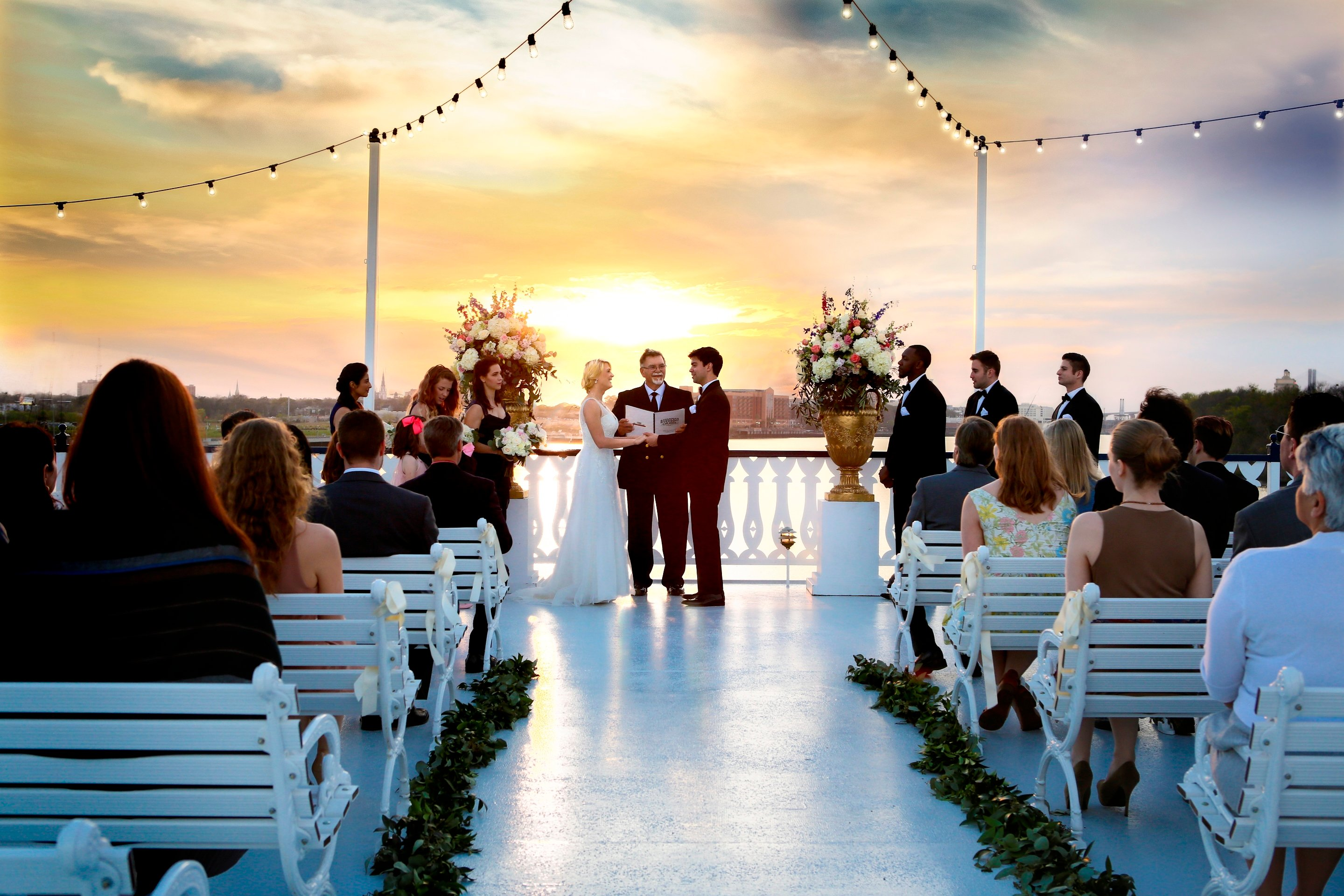 Enchanting top-deck wedding ceremonies.