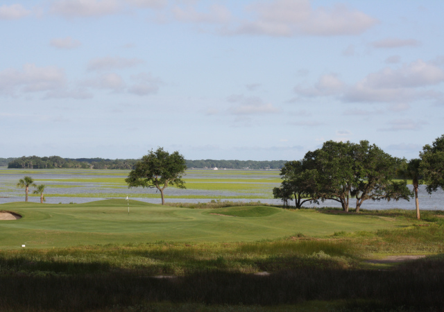 A view of the 16th hole of Old South Golf Links