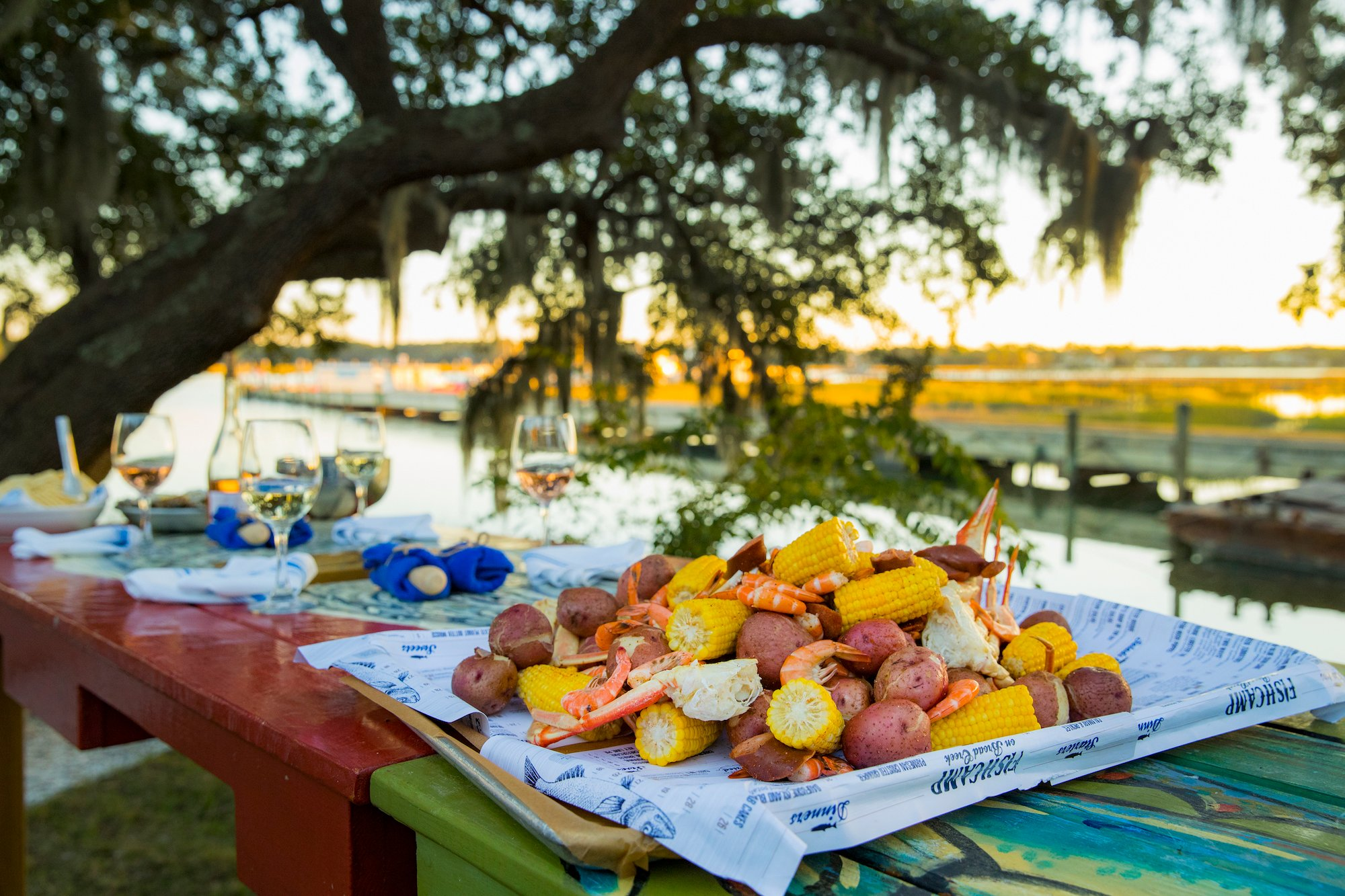 Lowcountry boil on picnic table