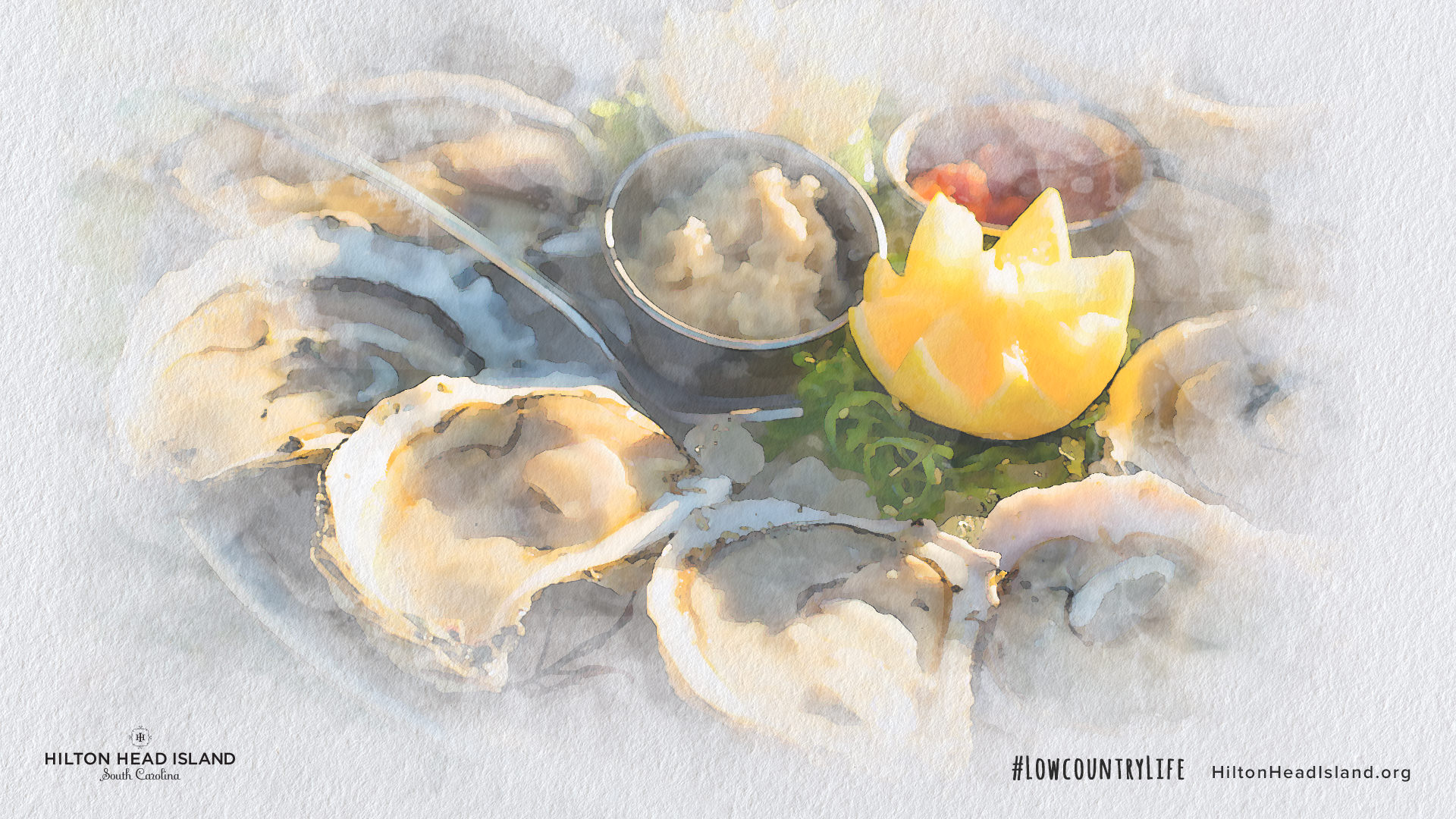 Watercolor image of oysters on Hilton Head Island