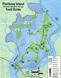 Pinckney Island trail maps are available on property in the parking area