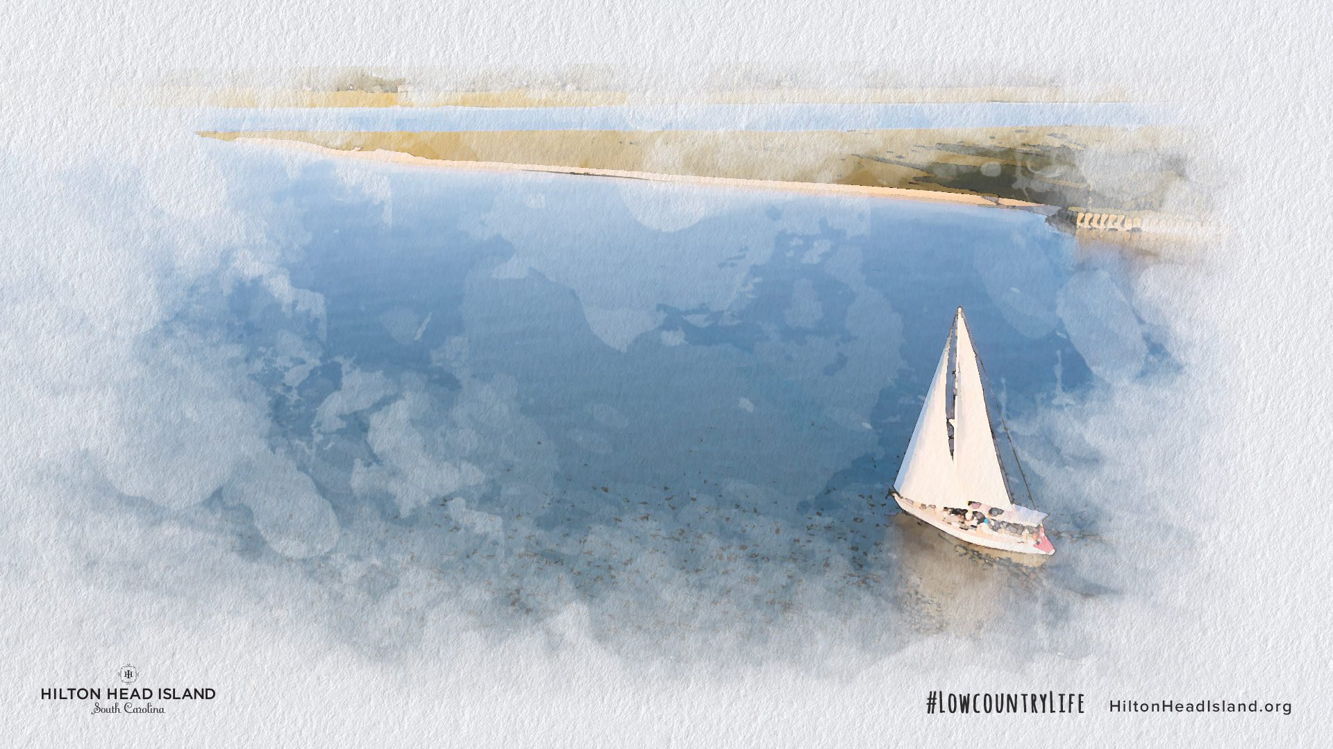 Watercolor image of a sailboat on Hilton Head Island