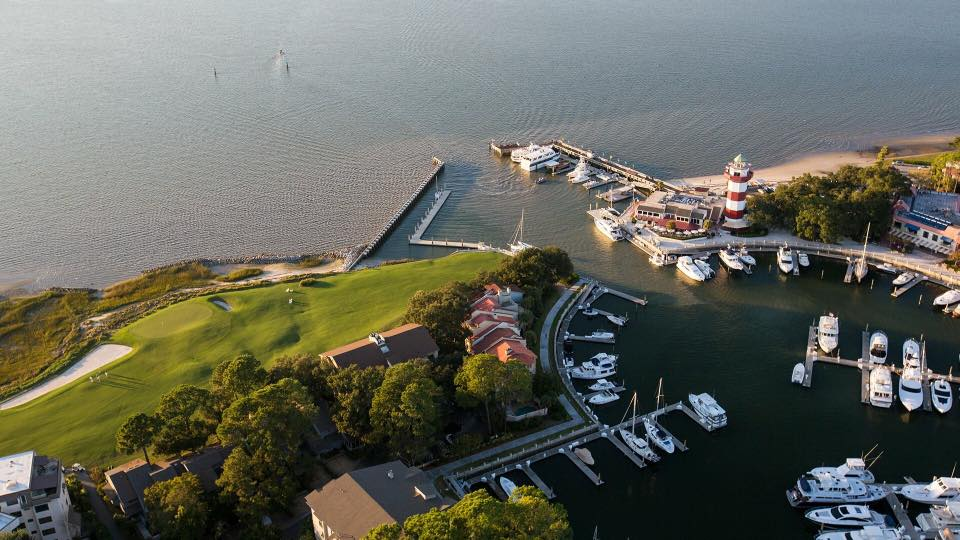 Aerial view of the Sea Pines Resort