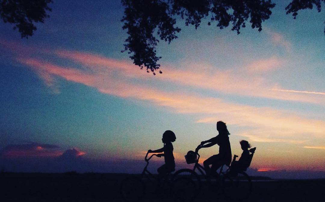 Family in silhouette riding bicycles at sunset.