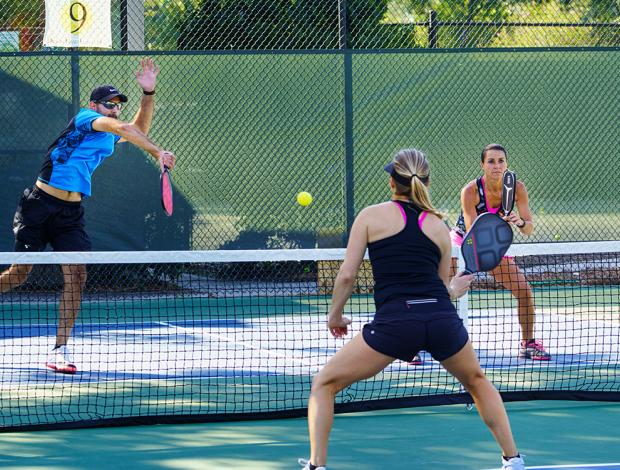 Players on a pickleball court