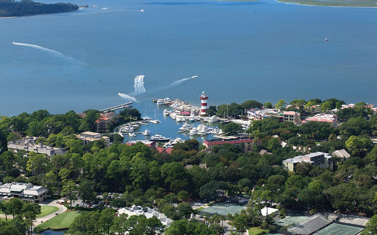Shot from the air of the sea pines resort.