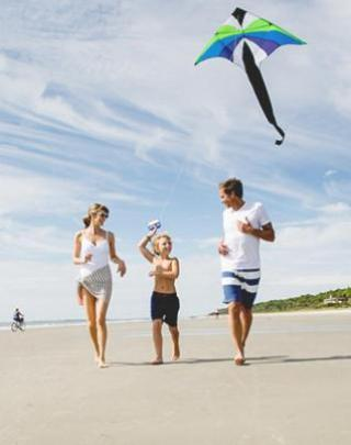Family flying a kite.