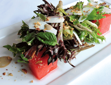 Watermelon salad on plate