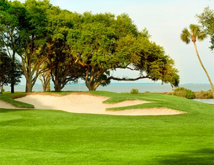 A golf course with sand traps and trees in the background