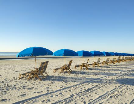 Blue umbrellas along Hilton Head Island's coastline