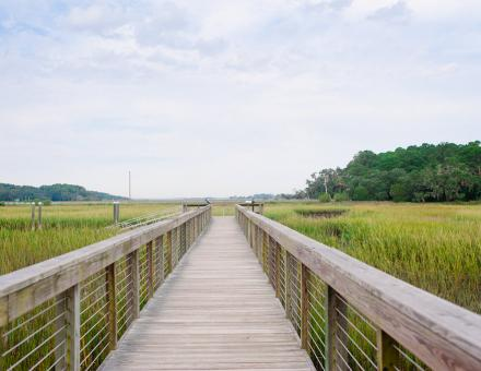 Trail overlooking a salt marsh on Hilton Head Island