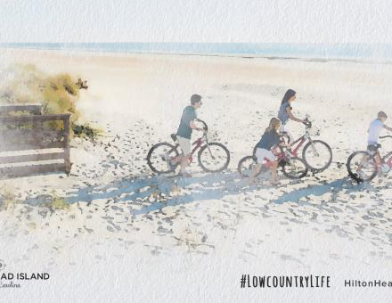 Watercolor image of a family biking on Hilton Head Island