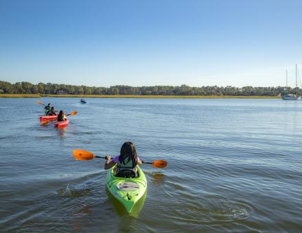 Kayakers on open water.