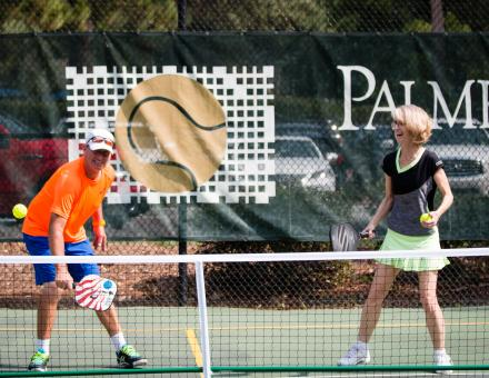 Pickleball players on court