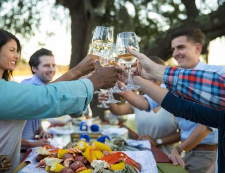 A group of people cheers-ing wine glasses at a dinner in Hilton Head Island