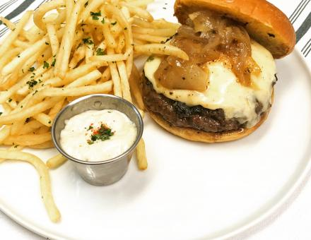 bistro burger and fries
