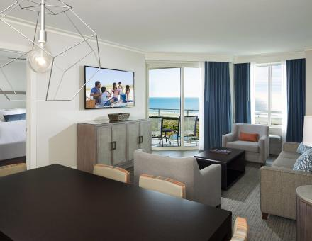 Oceanfront Suite Dining Living