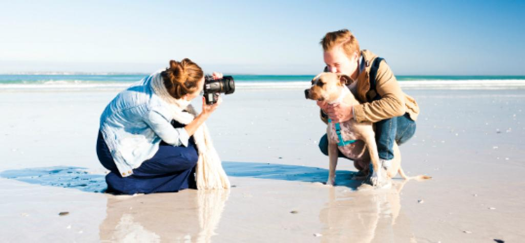 Photographer snapping shot of man and dog on sandy beach
