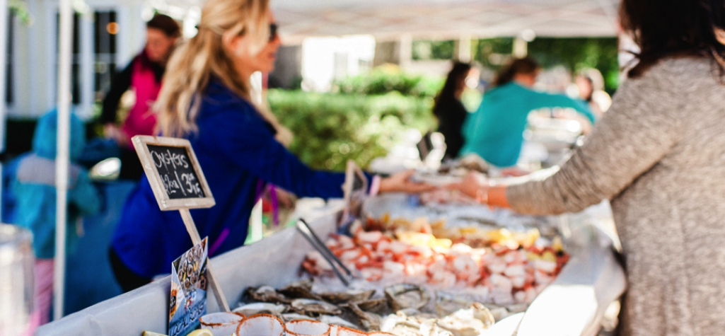 Outdoor market with fresh seafood