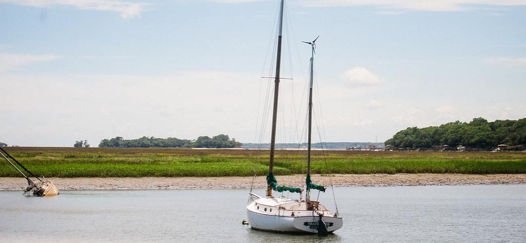 Sail boat in the marshes of Hilton Head Island