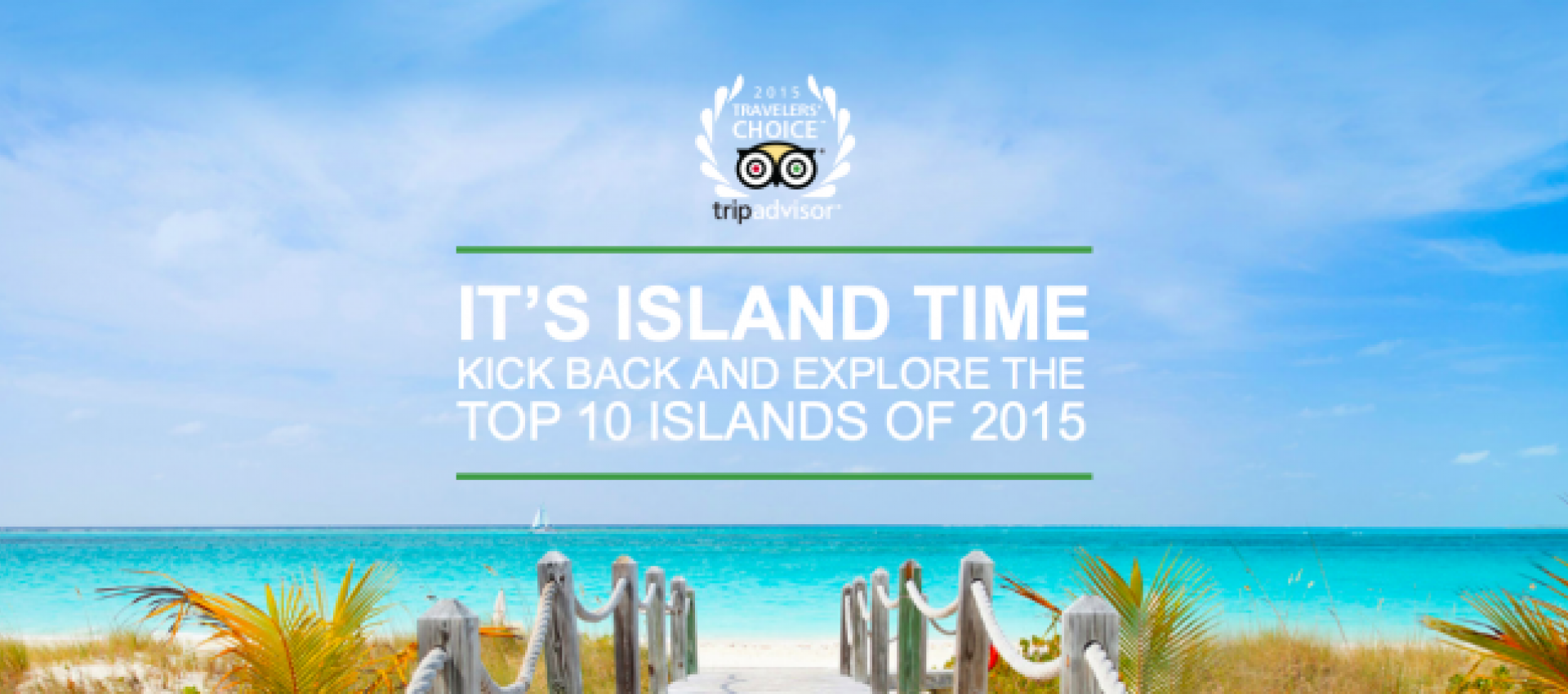 Ad for trip advisor saying It's Island Time over a beach landscape