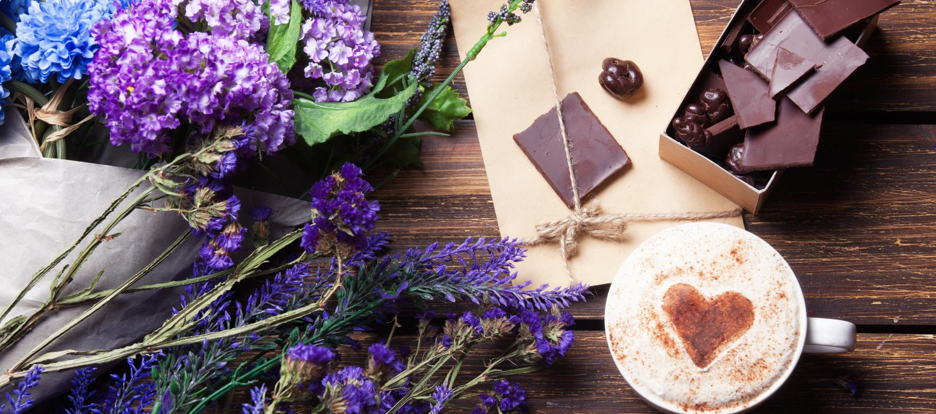 lavender, chocolate, and a latte