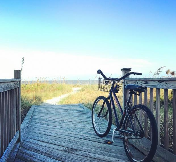 bicycle on boardwalk