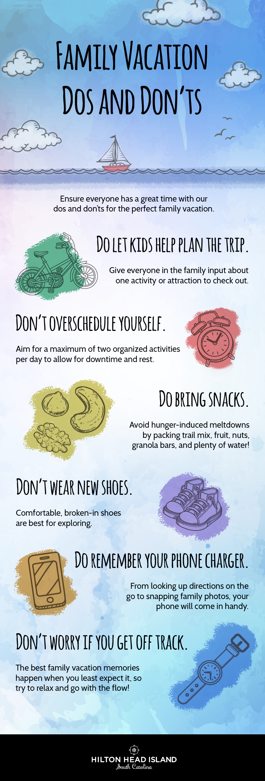 Family vacation dos and don'ts infographic
