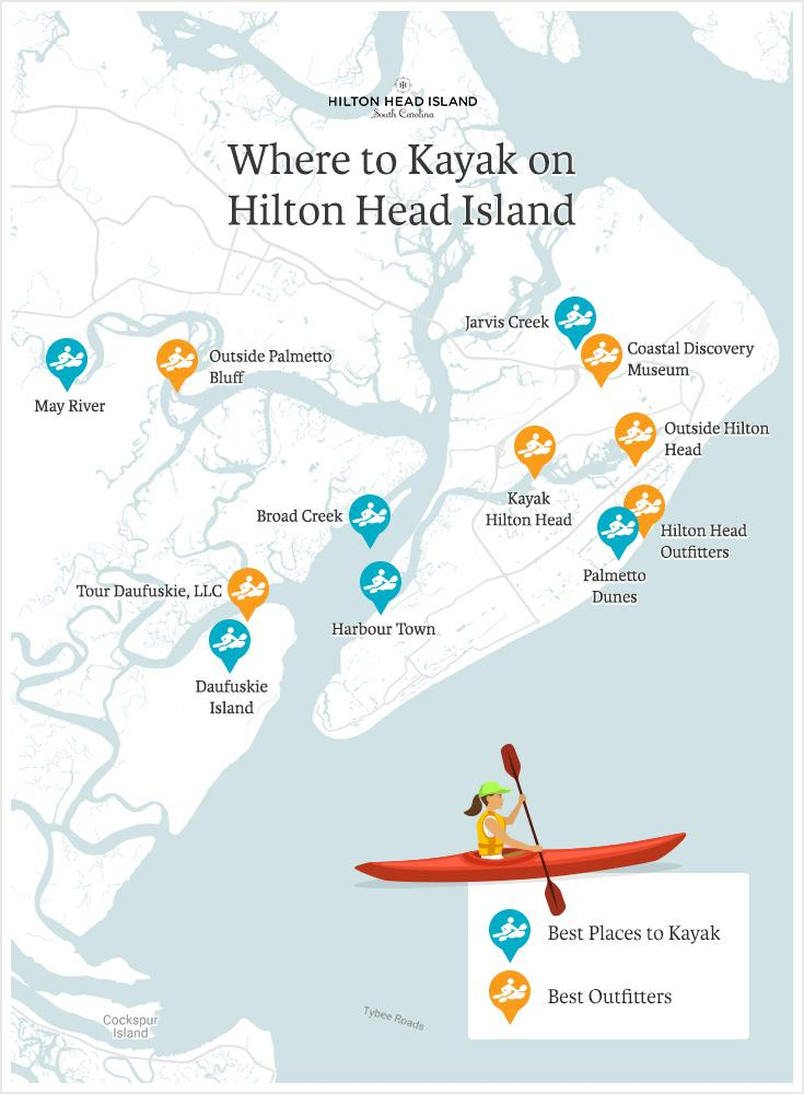 Map of the best kayaking spots and outfitters on Hilton Head Island