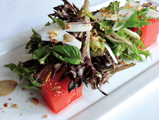 Watermelon salad on plate.