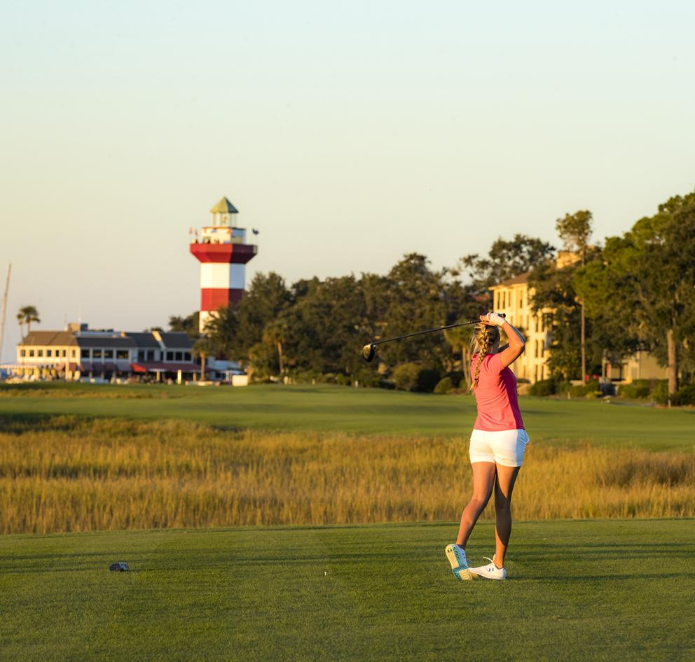 Woman Golfing on Hilton Head Island