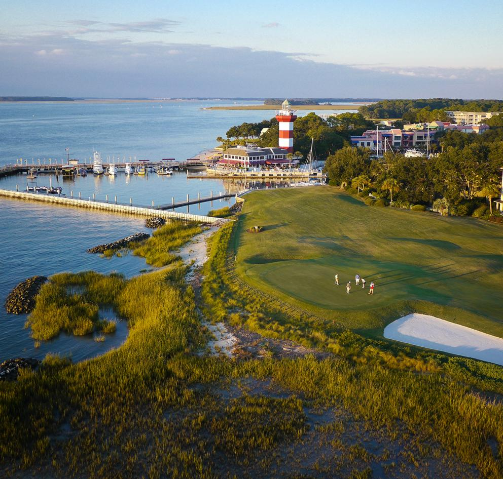 Aerial view of the Harbour Town Lighthouse and Golf Course