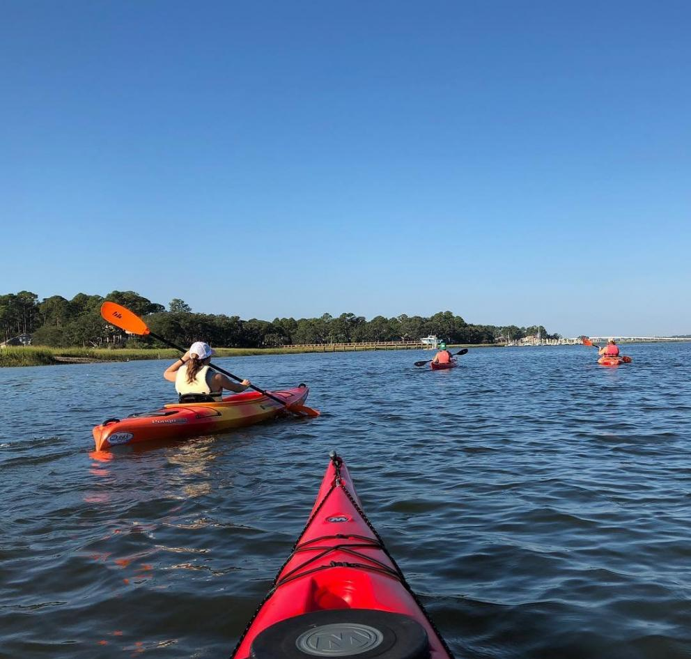 Four kayakers paddling along the coast of Hilton Head Island