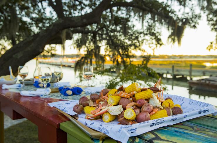 Lowcountry boil on platter