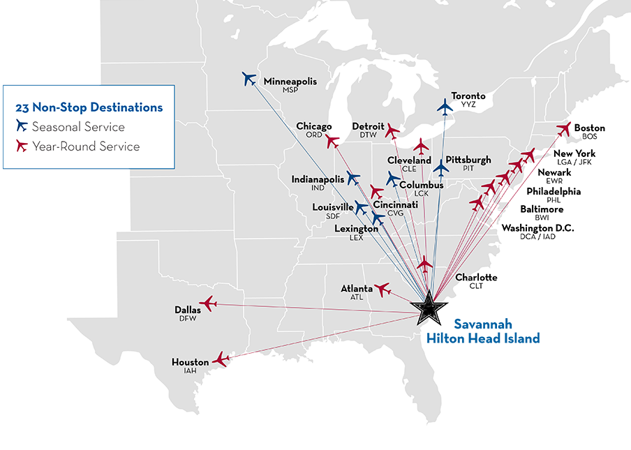 Click Here For A Quick Glance Of All Direct Flights To Savannah Hilton Head Int L Airport