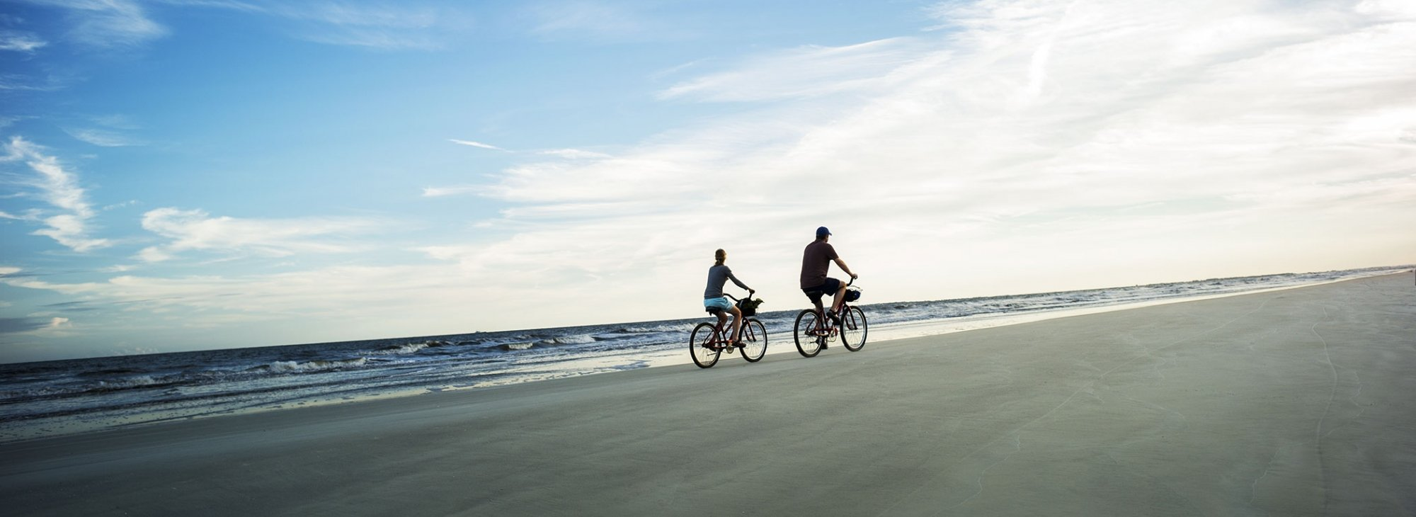 Cyclists on the beach