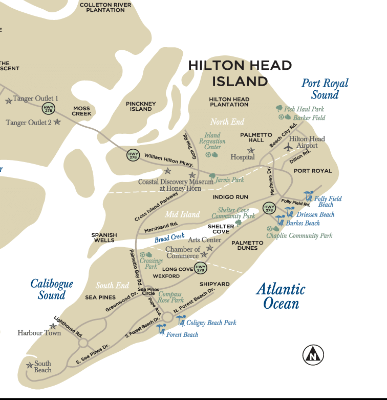 Map of Hilton Head Island beaches