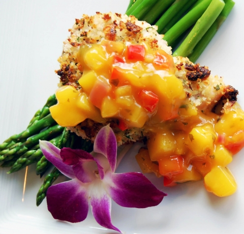 One of Hilton Head restaurants varied dishes, Macadamia crusted fish with mango chutney