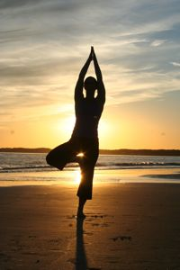 Jean Rioux at South Beach in Tree Pose
